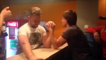 Arm wrestling accident   broken arm during battle! Panful moment