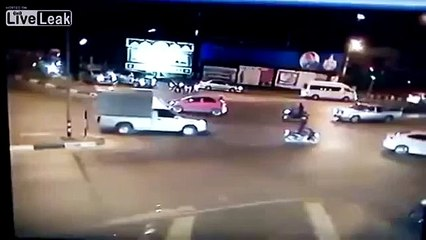 Out of control cement truck smashes car at intersection