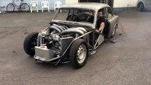 Dragster construit à partir d'une voiture Volvo de base... Moteur V8