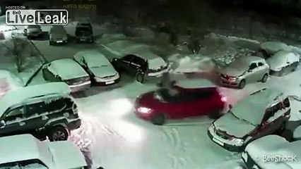 Drunk guy tries to park the car