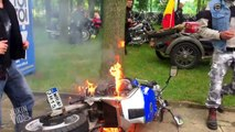 Motorcycle Catches On Fire | Ghostrider