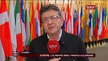 Jean-Luc Mélenchon - réaction face à Hollande et Merkel au Parlement Européen