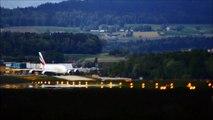 emirates airbus a380 crosswind landing @ runway 28 zürich airport 11.05.2014