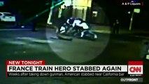 En images : le héros du Thalys, Spencer Stone, poignardé en Californie