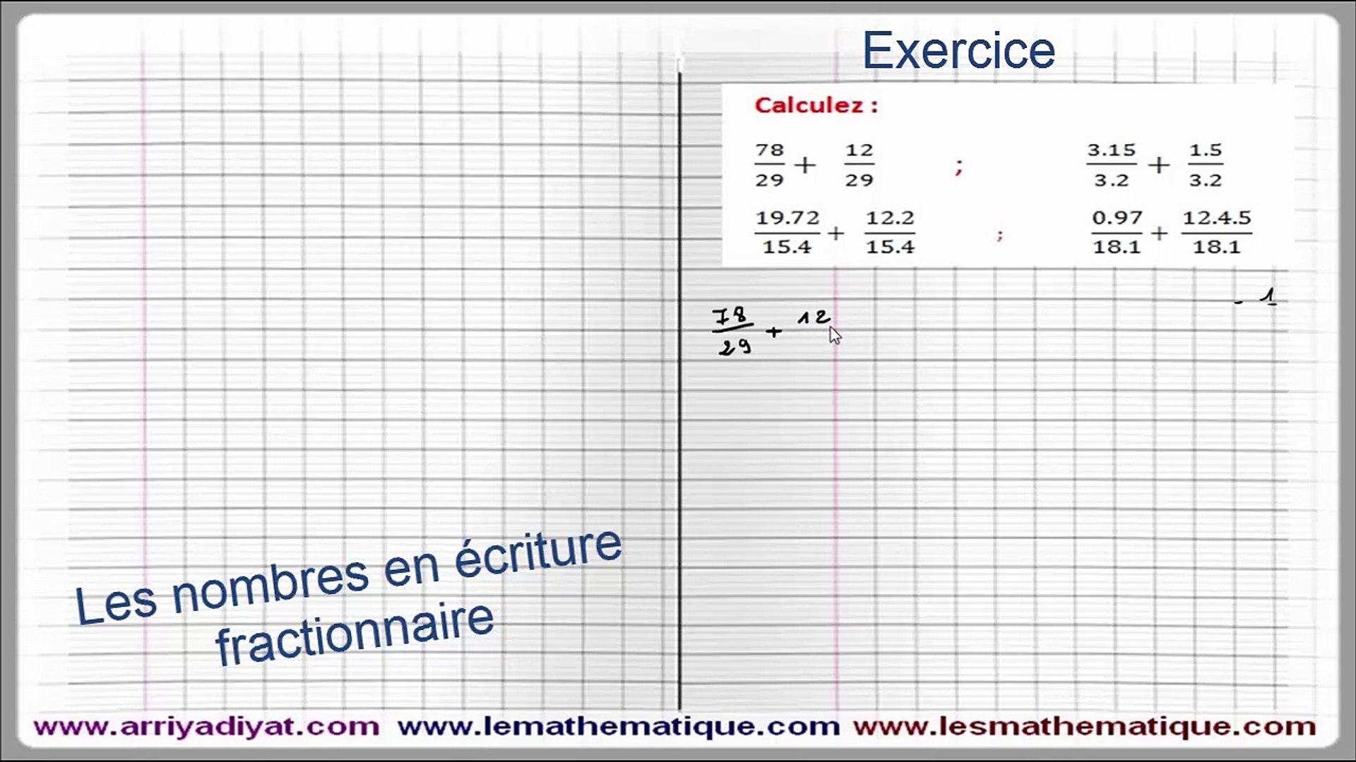 Maths 5eme Les Nombres En Ecriture Fractionnaire Exercice 2 Video Dailymotion