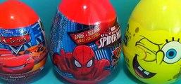Disney PIXAR Cars surprise egg MARVEL Spider Man surprise egg Nickelodeon SpongeBob surprise egg! [Full Episode]