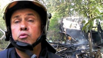 Cabanon et caravanes en feu à Origny