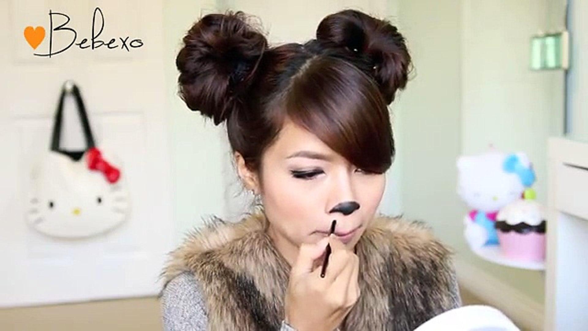Diy Halloween Costume Ideas Bear Cat Ears Hairstyle Makeup Tutorial