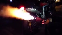 Amazing Motorbike Flames Like Bullet Boost Sparking Out With Flames Awesome Amazing Cool Video HD 2015 2016