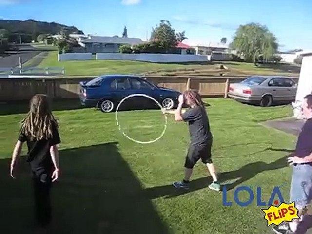 Four guys jump through a moving hula hoop!