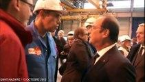 Hollande à Saint-Nazaire : un représentant CGT refuse de lui serrer la main