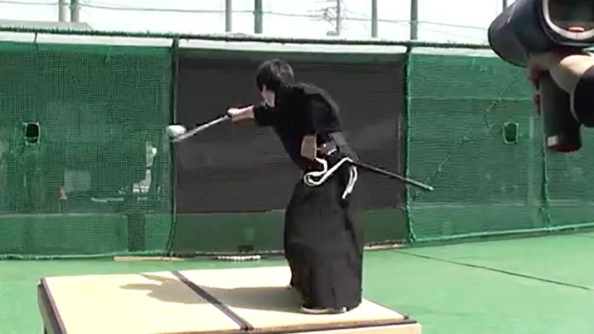 Samurai Cuts Baseball Traveling 100 MPH in Half