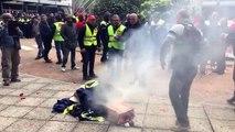 Les verriers de Saint-Gobain manifestent à La Défense