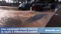 Une explosion d'eau éventre une route à Villeneuve-Loubet