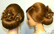 Wedding prom hairstyle for long hair updo tutorial-with-braided-flowers