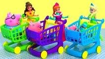 Anna Elsa & Belle Shopping For Shopkins Shopping Cart Sprint Game NEW CARTS 2016 Disney Fr