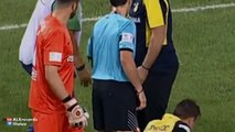 An injured player in Greece receives hilariously bad treatment as he's stretchered off the pitch