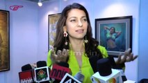Juhi Chawla And Poonam Sinha attend an art exhibition By JP Singhal' exhibition at J J Institute 2015