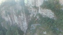 Daredevil Walks Tightrope Across Chinese Gorge