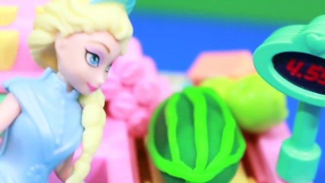 Peppa Pig goes Shopping Disney Frozen Queen Elsa Cashier Play-Doh Watermelon AllToyCollect
