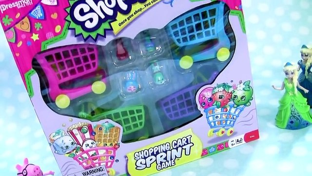 Anna Elsa & Belle Shopping For Shopkins Shopping Cart Sprint Game NEW CARTS 2016 Disney Frozen