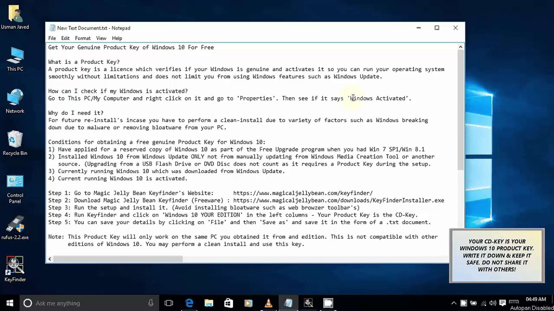How To Get Free Windows 10 Product Key For Activation After Free Upgrade HD