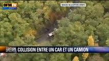 Images de l'hélicoptère BFMTV du lieu de la collision à Puisseguin