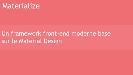 Materialize framework CSS front-end