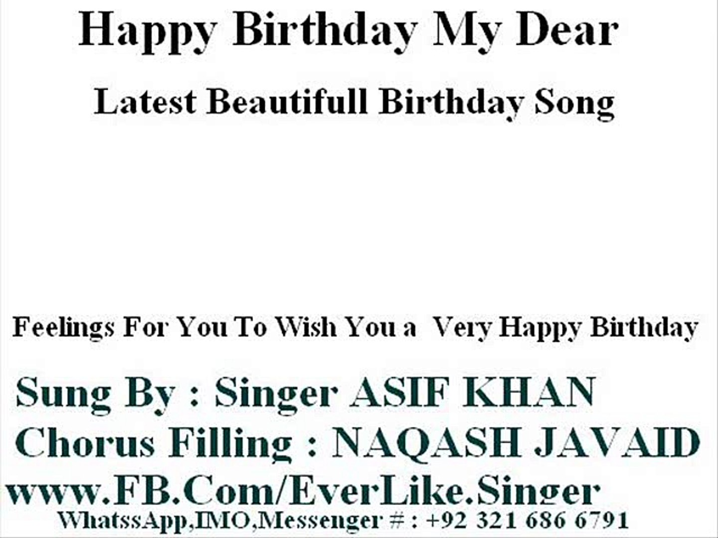 HAPPY BIRTHDAY SONG BY SINGER ASIF KHAN - video dailymotion