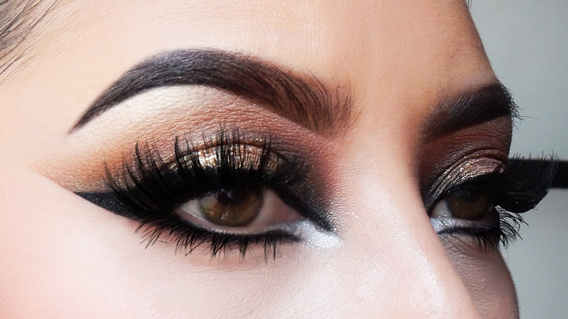 brown glitter smokey eye makeup tutorial