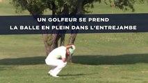 Un golfeur professionnel se prend la balle en plein dans l'entrejambe
