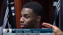 Thad Young Plays With Andrew Wiggins Ear 2015.01.26
