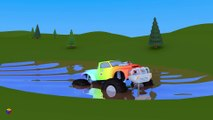 Juego de construcción  un camión monstruo. Dibujos animados para niños en esp