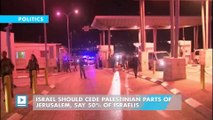 Israel should cede Palestinian parts of Jerusalem, say 50% of Israelis