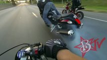 HAYABUSA Motorcycle STUNTS On Highway WHEELIES + DRIFTING BUSA GSXR 1300 Street Bike Stunt