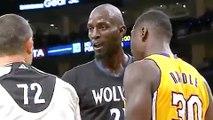 Lakers' Julius Randle Throws Ball off Kevin Garnett, KG Gets Technical