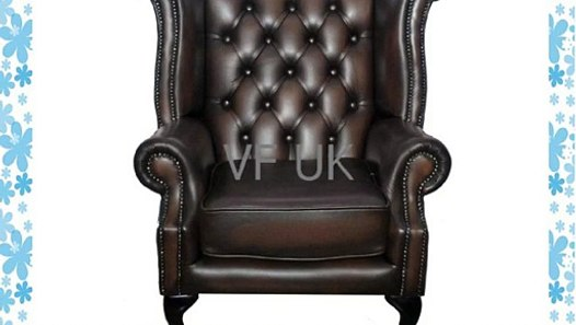 Chesterfield Fauteuil Oxblood.Chesterfield 100 Genuine Leather Antique Brown Queen Anne