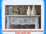 Vintage Look Casamore Limoges White Painted 1 Drawer Console Table with Casing Sways