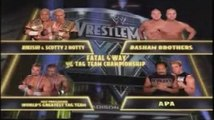 Charlie Haas and Shelton Benjamin vs Rikishi and Scotty 2 Hotty vs Basham Brothers vs Bradshaw and Faarooq Fatal Four Way Tag Team Match WWE Tag Team Championship WrestleMania XX