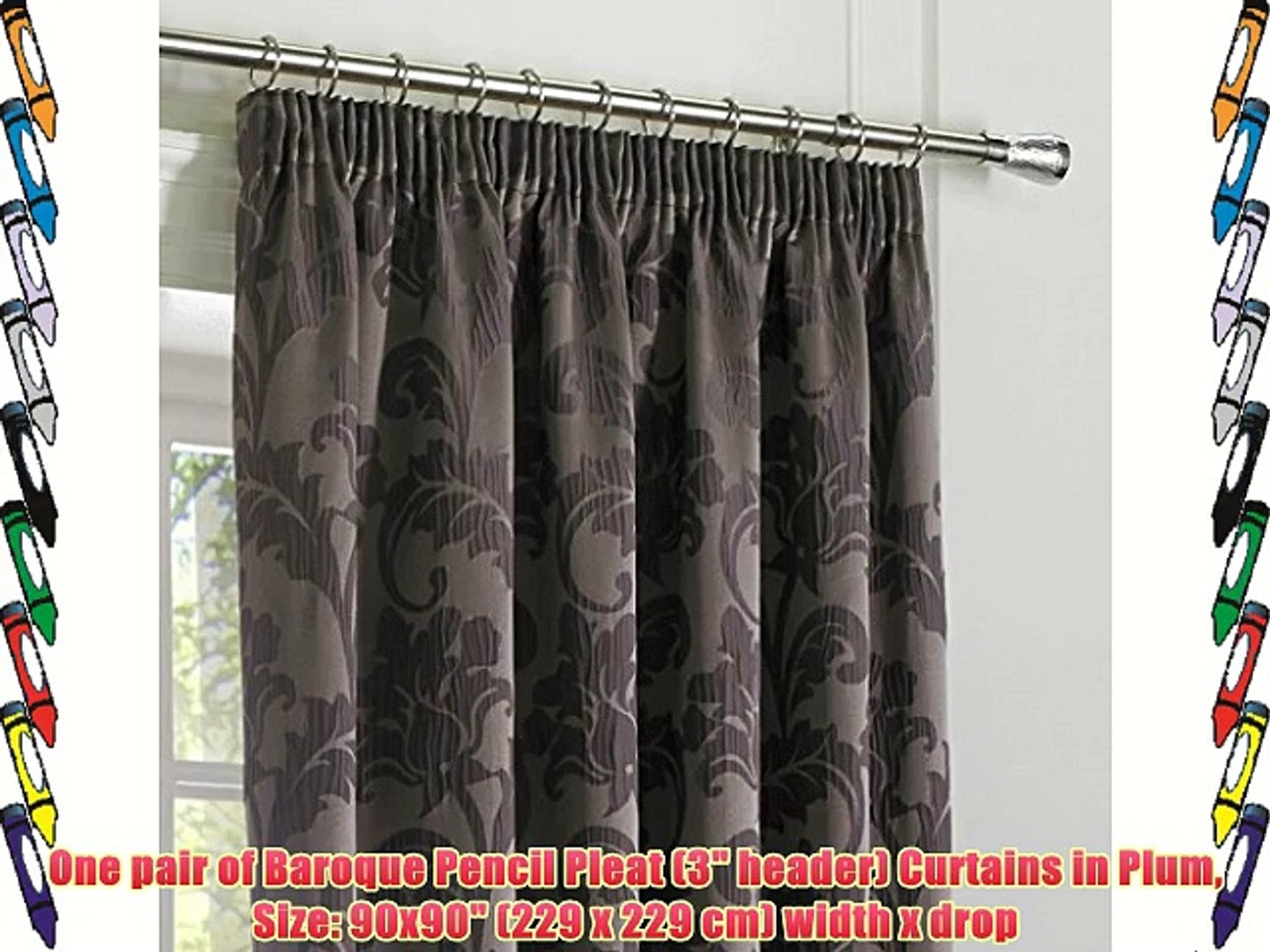 One pair of Baroque Pencil Pleat (3 header) Curtains in Plum Size: 90x90 (229 x 229 cm) width