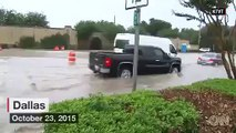 HUGE FLOODING IN TEXAS - DALLAS DRIVERS RESCUED ( VIDEO ), Oct, 23, 2015