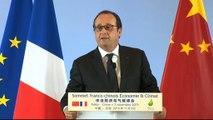 Discours lors du sommet franco-chinois Économie et Climat