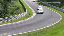 Almost CRASH / small Hit Porsche 911 GT3 Cup VLN 6. Lauf 22.08.2015 Nürburgring Nordschle