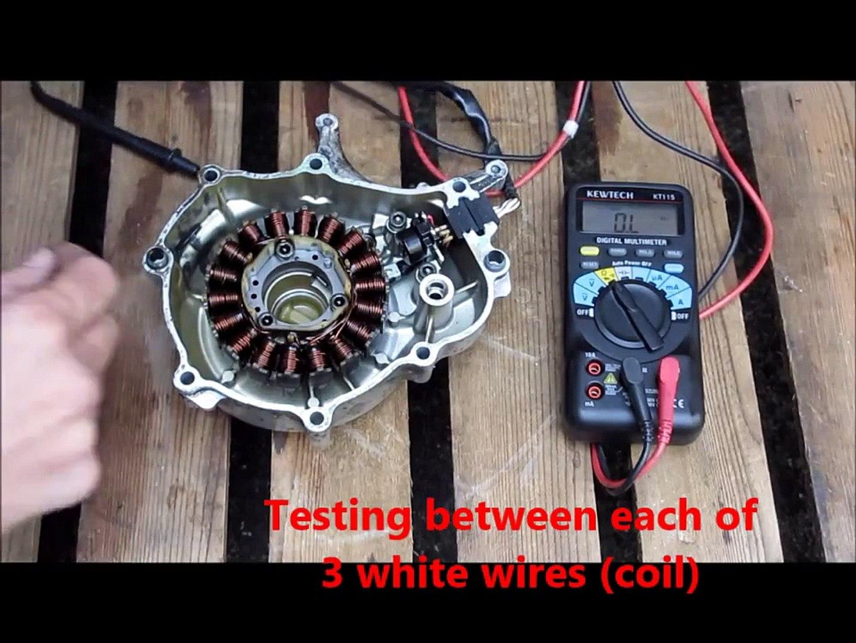 Yamaha YZF R125 Generator , stator , alternator , pick up coil testing see  link to full post below