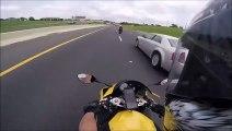 Se faire doubler par une moto à plus de 250 km  h... Dingue!