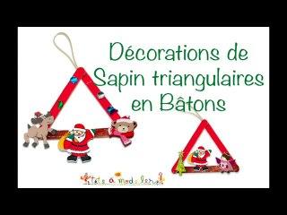 Decorations de sapin triangulaire en bâtons