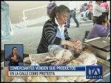 Comerciantes vendieron productos en las calles como protesta