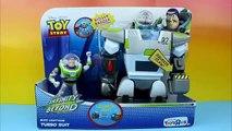 Disney Pixar Toy Story Buzz Lightyear Turbo Suit saves Disney Cars Lightning McQueen from