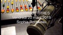 RADIO : 17H45 - LE RAPPEL DES TITRES