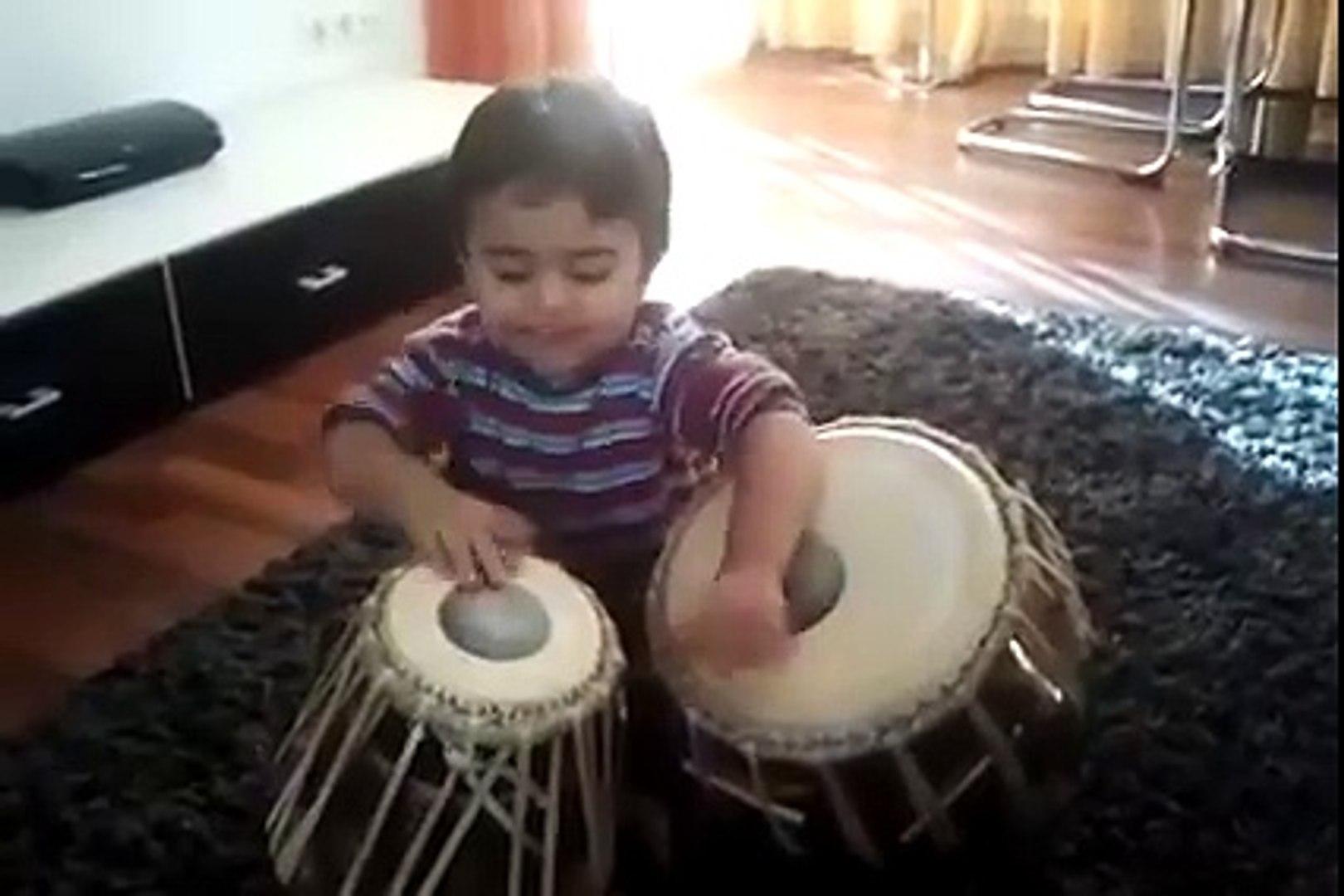 Kid Playing Tabla - Very Cute